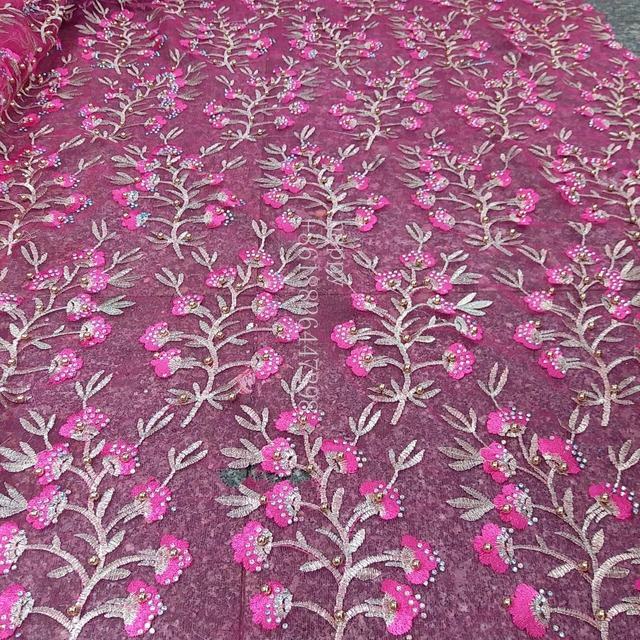 5 yard red/ blue/pink metallic stones pearls heavy embroidered wedding dress/evening/show dress lace fabric 51'' widht