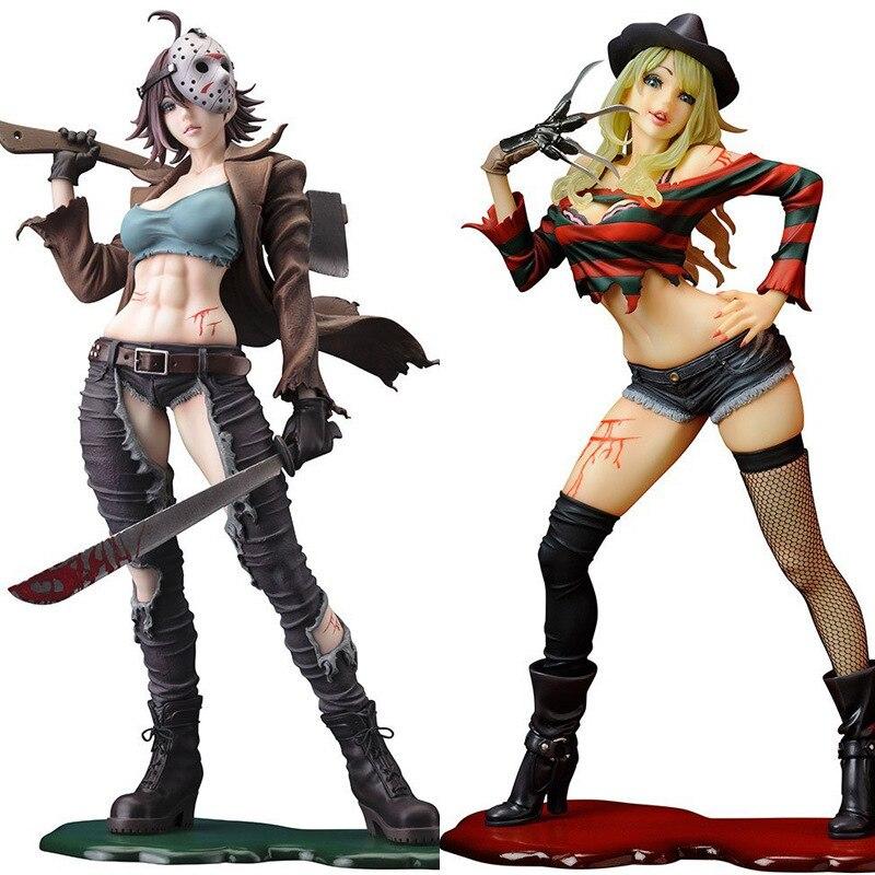 Freddy vs Jason Action Figures Girl Ver. Jason Voorhees Freddy Krueger 200mm PVC Model Toy Movie Freddy vs Jason