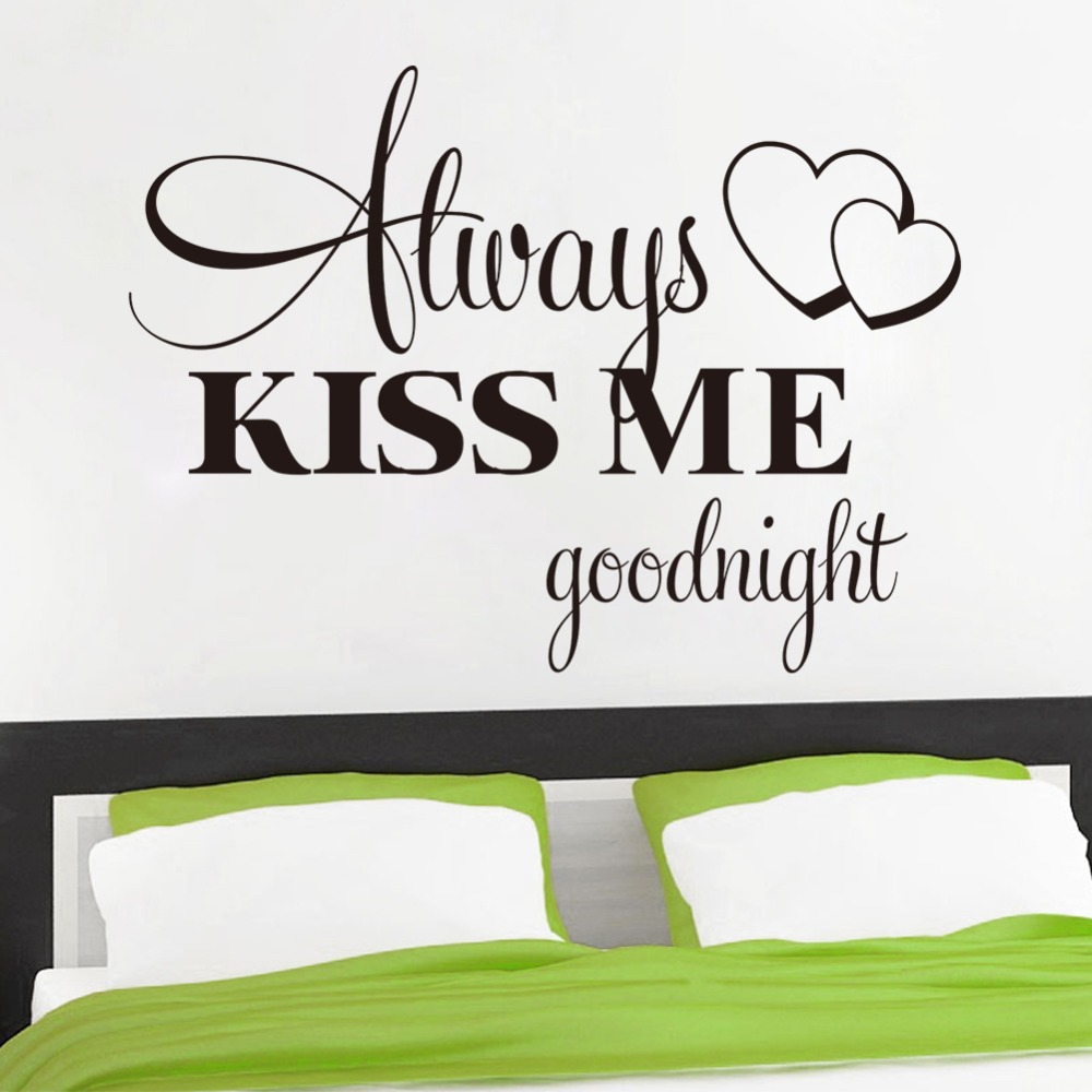 Boutique Always kiss me Good night quote bedroom decals/removable Vinyl Wall Art Decals Window Sticker Sayings ZY8232