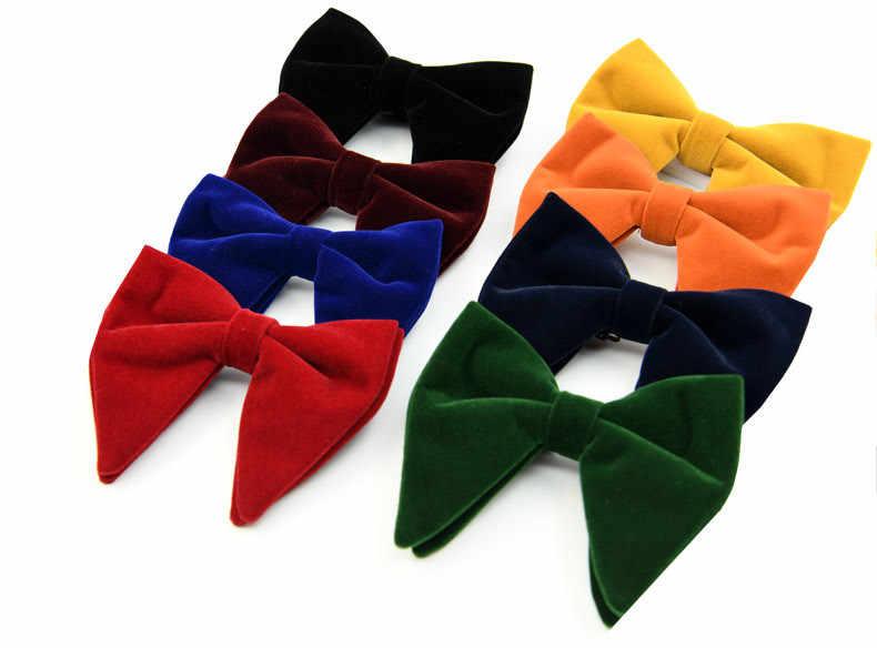 CityRaider ยี่ห้อใหม่กำมะหยี่ซาติน Bow Ties สำหรับผู้ชาย Tie Bowtie Biger สีส้ม Pre - Tied Bow Tie Navy blue Tuxedo Tie ผูก C028
