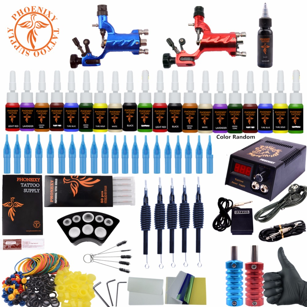 Complete Tattoo Kit Beginner Tattoo Starter Kits 2 Rotary Tattoo Machines Guns 20 Ink Sets Power Supply Needles Top Tattoo Ink professional tattoo kits liner and shader machines immortal ink needles sets power supply