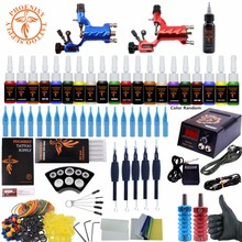 Complete Tattoo Kit Beginner Tattoo Starter Kits 2 Rotary Tattoo Machines Guns 20 Ink Sets Power Supply Needles Top Tattoo Ink