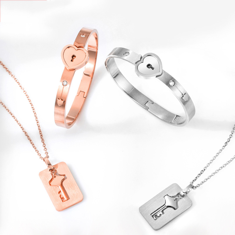 Stainless Steel Jewelry Sets Heart Love Lock Bracelet Key Necklace For Couples Set For Woman Zircon Wedding Jewelry Sets(China)