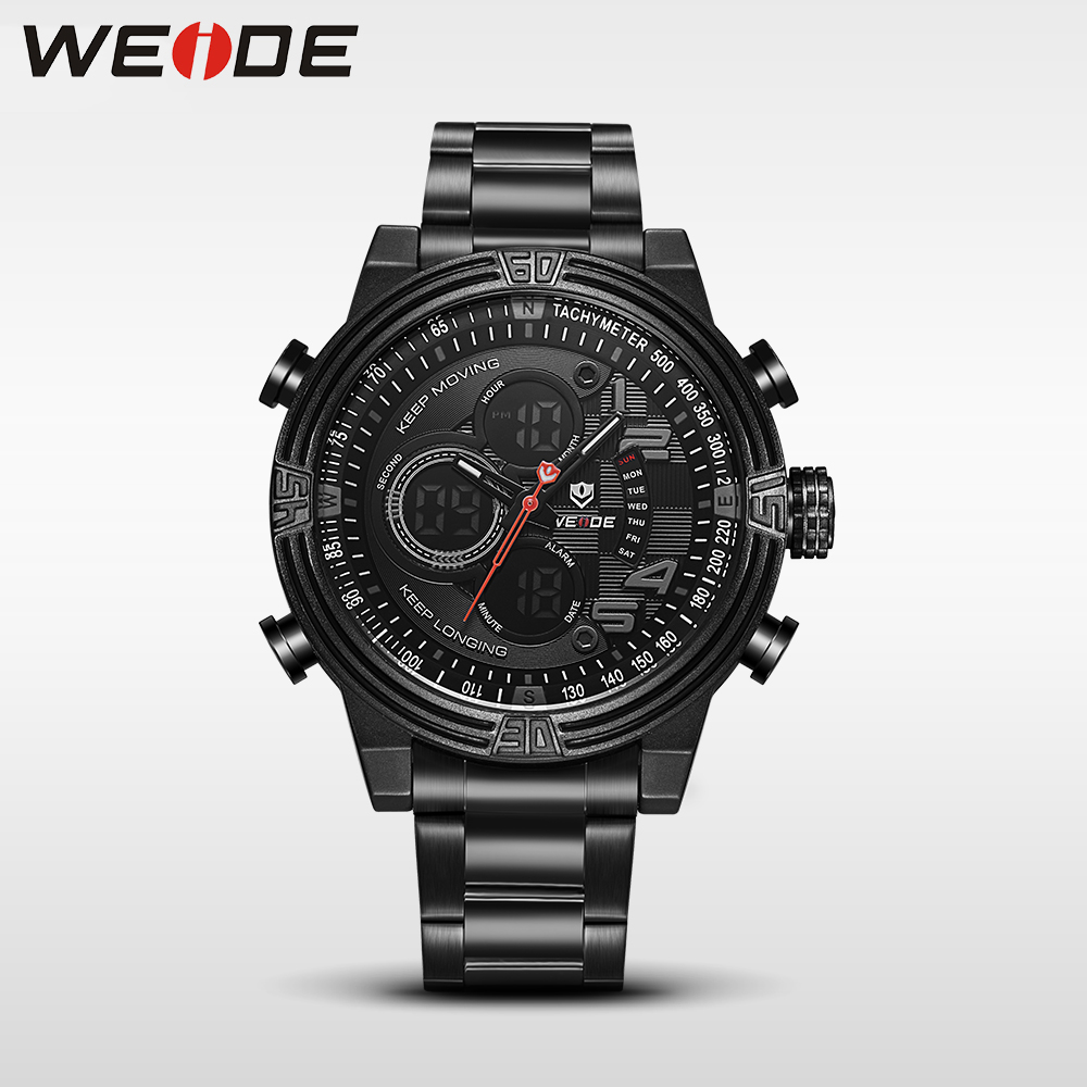 Weide luxury quartz sports wrist watch genuine business watch stainless steel silver digital LCD clock horlog Multiple Time Zone weide new men quartz casual watch army military sports watch waterproof back light men watches alarm clock multiple time zone