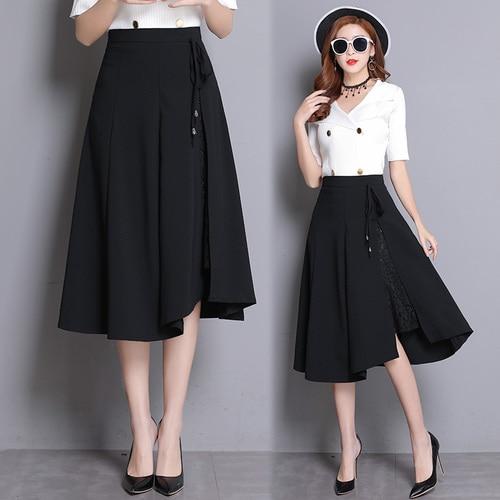 8bd87c663c Fashion Lace Patchwork Black Women Skirts Elegant Pleated Knee-length Skirts  Womens Pleated Women Skirt