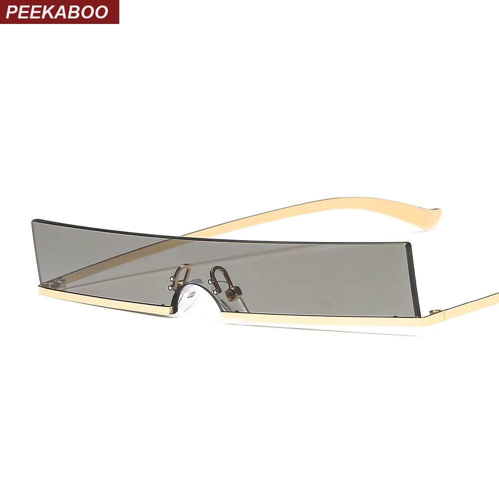 afa0be4f6 Peekaboo estreitas dos homens óculos de sol das mulheres metade quadro 2019  ouro vermelho retangular óculos de sol para homens uv400 do vintage retro  do ...