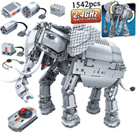 MOC слон животные дистанционное управление 2,4 ГГц техника с мотором коробка 1542 шт. строительные блоки кирпичи legoing Creator игрушечные лошадки для