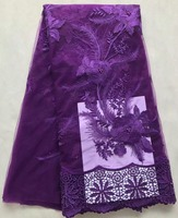African Lace Fabric 2017 Embroidered Nigerian Lace Purple African Lace High Quality French Cord Lace Fabric For Dress AMY732B