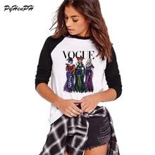 Винтажная женская футболка с принтом «Фокус», женская футболка с длинным рукавом в стиле Харадзюку на Хэллоуин, женские топы на осень и весну, женская футболка