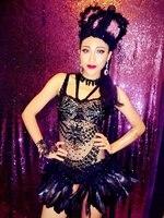 Яркими кристаллами сексуальный наряд боди перо Для женщин бар танцевальный сценический костюм выступлений ночной клуб Сияющий певица купа