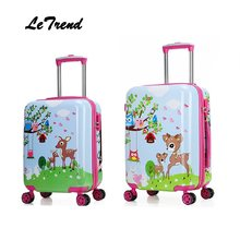 Letrend New 19'20' Cute Cartoon Suitcases Wheel Kids Dinosaur Rolling Luggage Spinner Trolley Children Travel Bag Student(China)