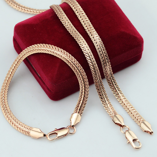Rose Jewelry Sets Men Women Rose Gold Color Bracelet Necklace Sets