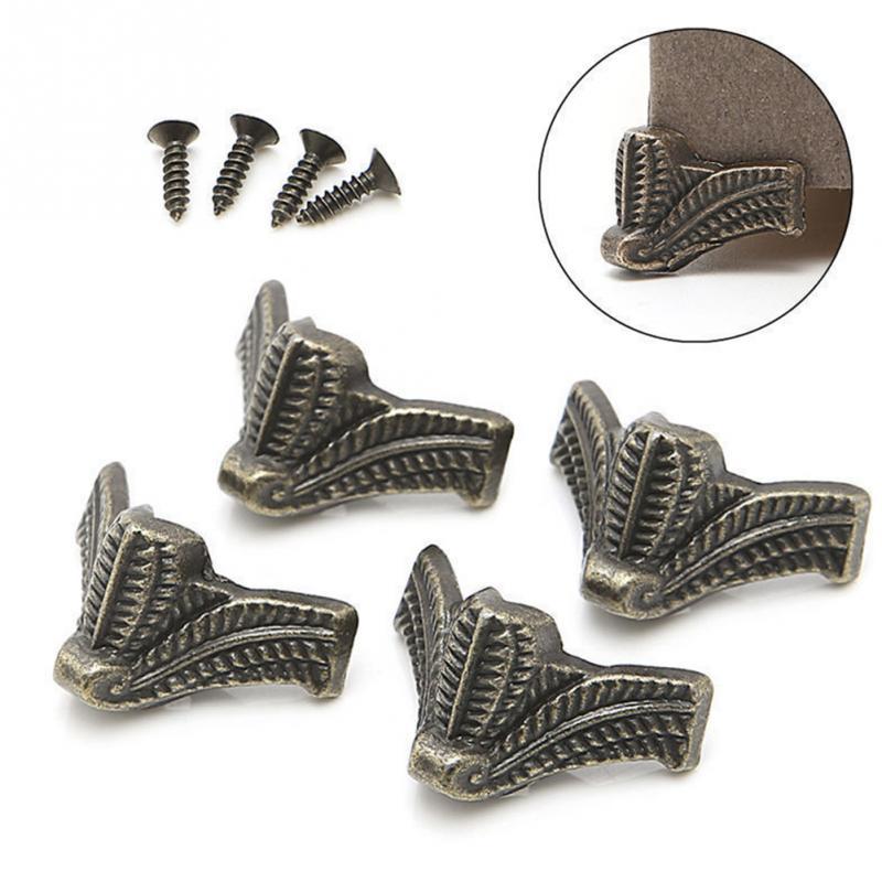 4PCS Antique Corner Protector Bronze Jewelry Box Wooden Case Decorative Feet Leg Corner Bracket Furniture Hardware #25