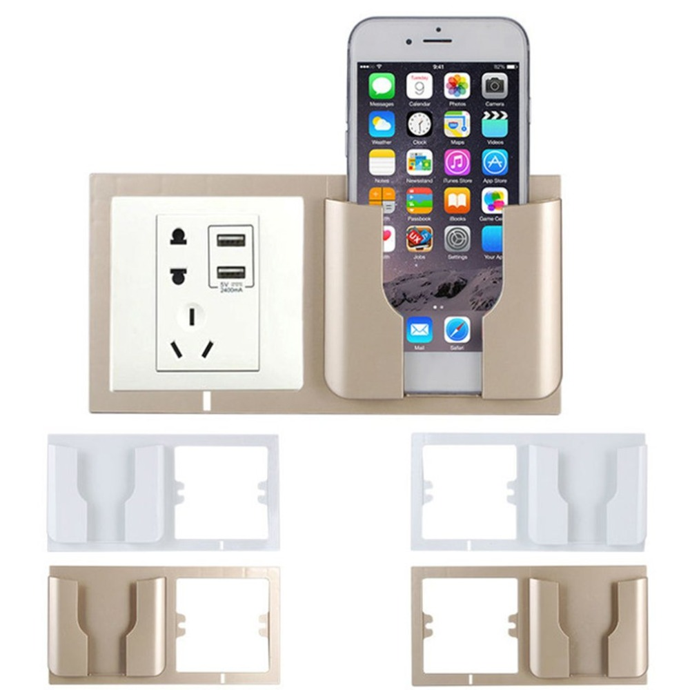 Multifunctional Wall Mounted Mobile Phone Charge Holder Smartphone Cell Phone Charging Bracket Holder Stable Fixed Mount