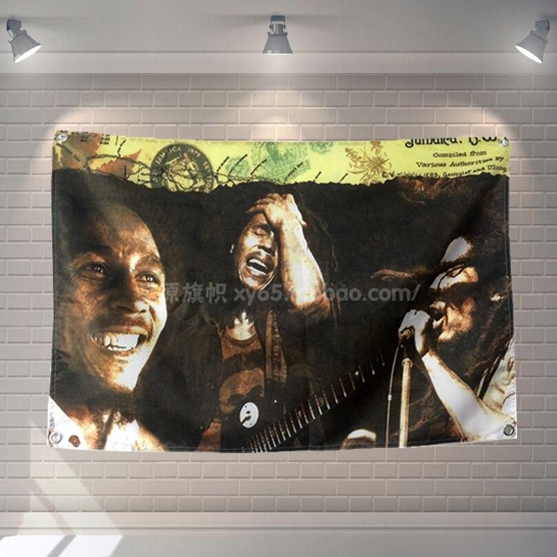 """""""bob Marley Jamaica Reggae"""" Band Pop Segno Bandiera Panno A Quattro Fori Hanging Dipinti Cafe Hotel Music Studio Decorazione"""