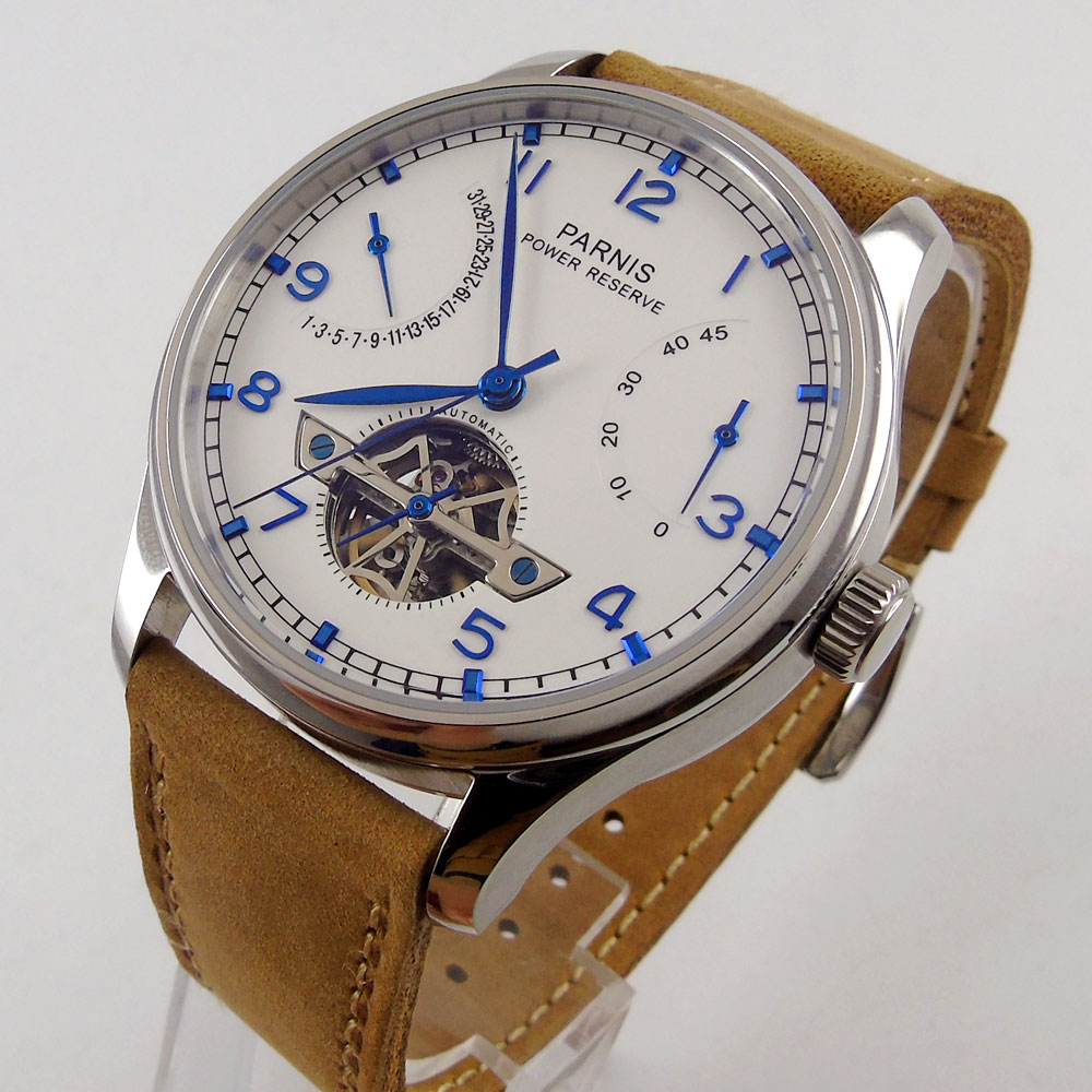 лучшая цена 43mm parnis White Dial power reserve Date Blue Marks SS Case Automatic Mechanical men's Watch