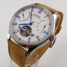 цена 43mm parnis White Dial power reserve Date Blue Marks SS Case Automatic Mechanical men's Watch онлайн в 2017 году