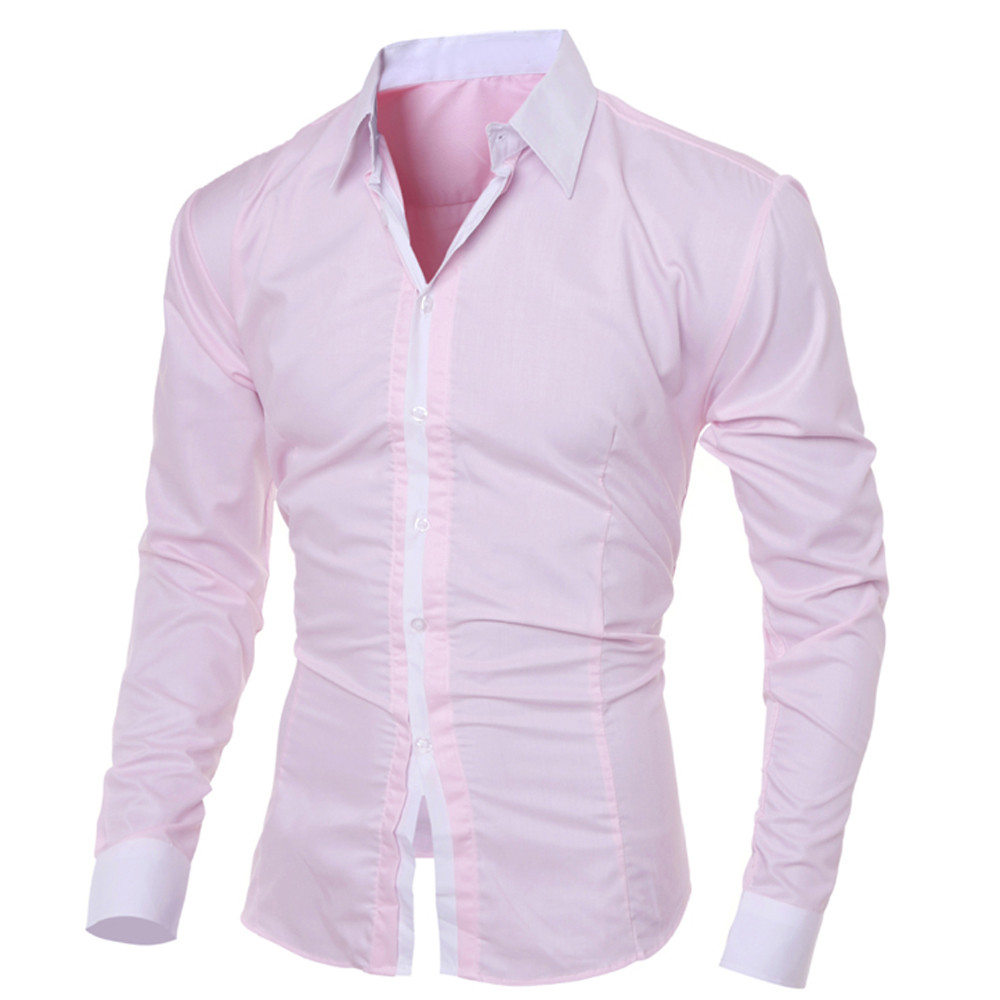 Fashion Personality Men's Casual Slim Long-sleeved Shirt Top Blouse Solid Black White Blue Shirts Casual Slim Fit Long Sleeve
