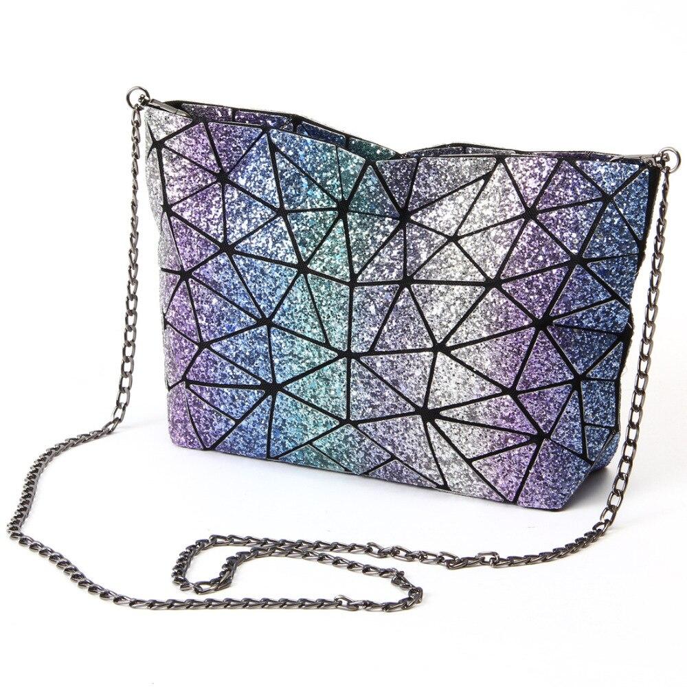 Sternenhimmel Neue Mode Tasche Frauen kette Lightnig Leucht Geometrie Frauen Umhängetaschen Einfachen Klapp Umhängetasche bolso