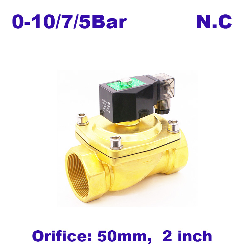 Amicable Gogo 2 Way Pneumatic Brass 2 Inch Water Solenoid Valve Zero Pressure Start Ac220v Orifice 50mm Normal Close Pu-50 With Plug Type