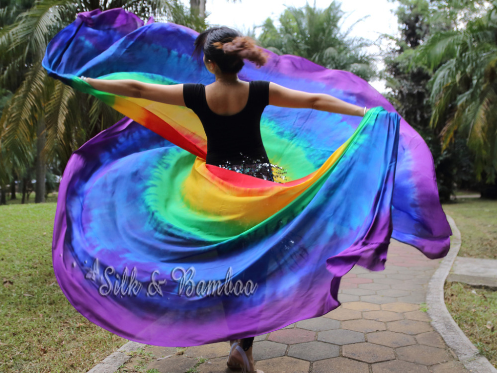 rainbow 1 PIECE 2 7m 1 14m 3 yard 45 tie dye 8mm habotai real silk