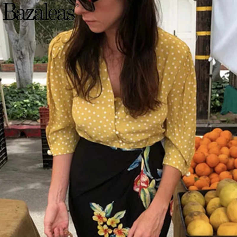 Vintage Yellow blusas mujer de moda 2018 Dot Print Deep V Neck women blouse pearl buttons front blouses elegant shirt Casual