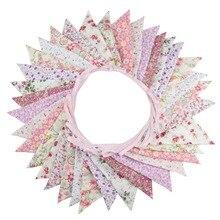 Ткань С Днем Рождения Баннеры 36 флагов 10 м розовый ребенок 1-й День рождения Свадебные гирлянды из флажков Висячие вечерние Anniversaire Декор