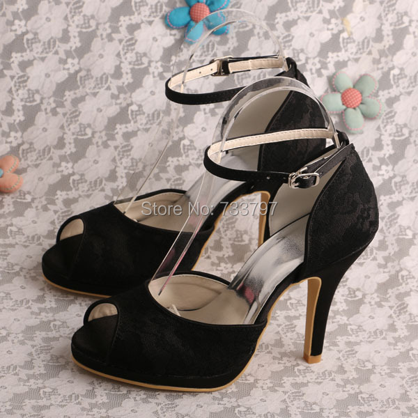 Wedopus Wholesale Shoes High Heel Sandals Party Shoes Dresses for Woman Bride Wedding Black Lace