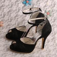 Wedopus Оптовые Ботинки Высокой Пятки Сандалии Партия Обуви Платья для Женщин Невесты Свадебное Черное Кружево