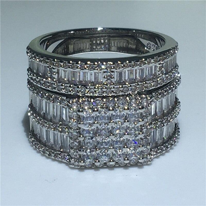 Роскошные кольца для новобрачных 925 стерлингового серебра Принцесса cut Full AAAA фианит обручальные Обручальные кольца для женщин украшения дл