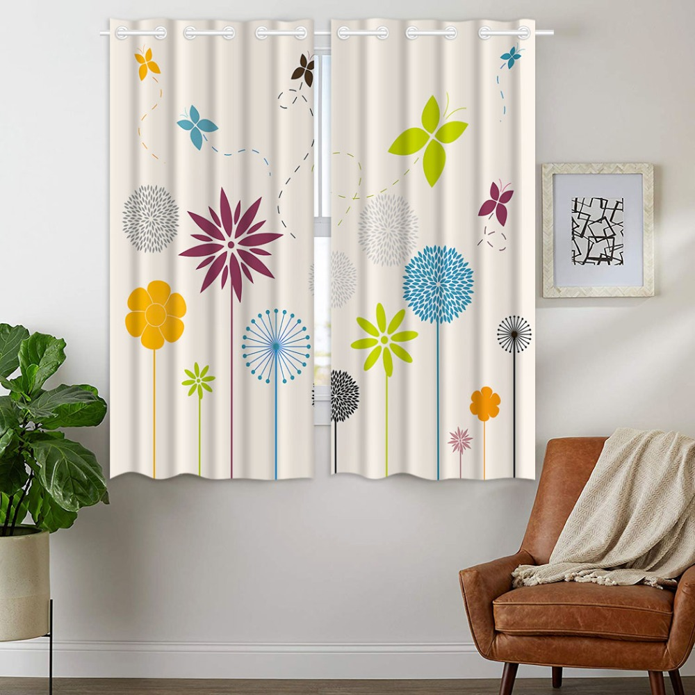 HommomH Curtains (2 Panel) Grommet Top Darkening Blackout Room Simple Style Flower Dandelion Butterfly