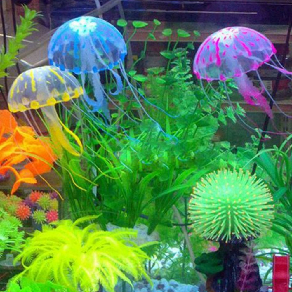 Fish in new aquarium - Hot Sales Fish Aquariums Decorations Glowing Fluorescent Effect Jellyfish Tank Ornament Swim Pool Decor China