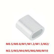 M0.5~ M10 алюминиевый кабель с одним отверстием Обжимает рукава зажим фитинги петля рукав, металлический ободок стоп трос кабель 14 размер для выбора