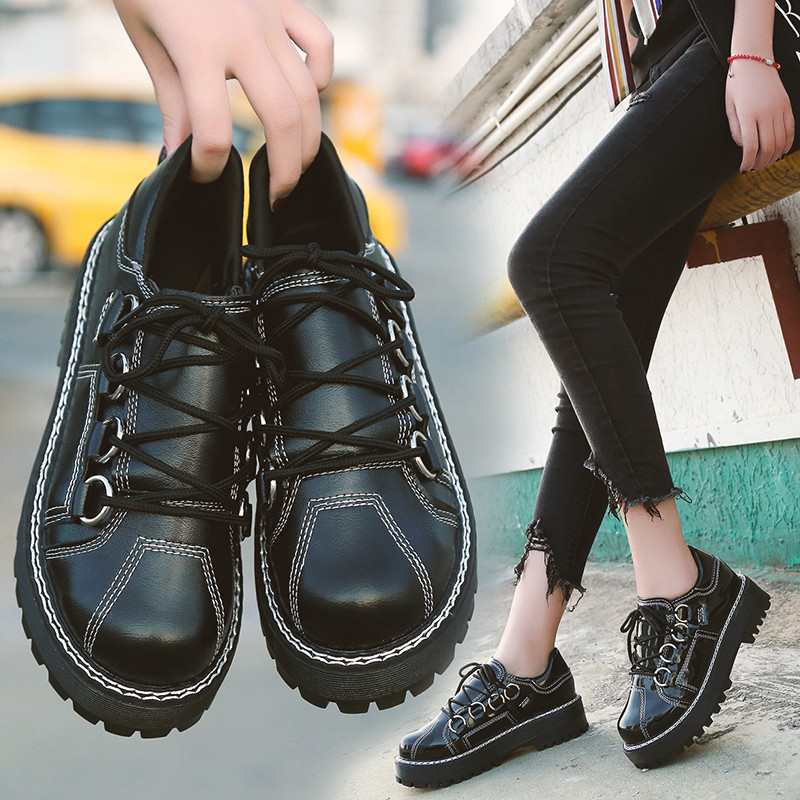 1d42d35904d PHYANIC Lace Up Retro Preppy Flat Platform Oxfords for Female Womens  Brogues Wingtip Platform Creepers Shoes Size 35 39 PHY0983-in Women s Flats  from Shoes ...