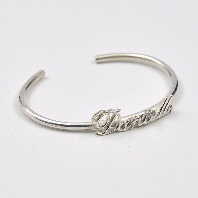 ce1c5cdc2e15 Plata esterlina al por mayor nameplate brazalete personalizado brazalete  pulsera personalizada con Crystal mom gift