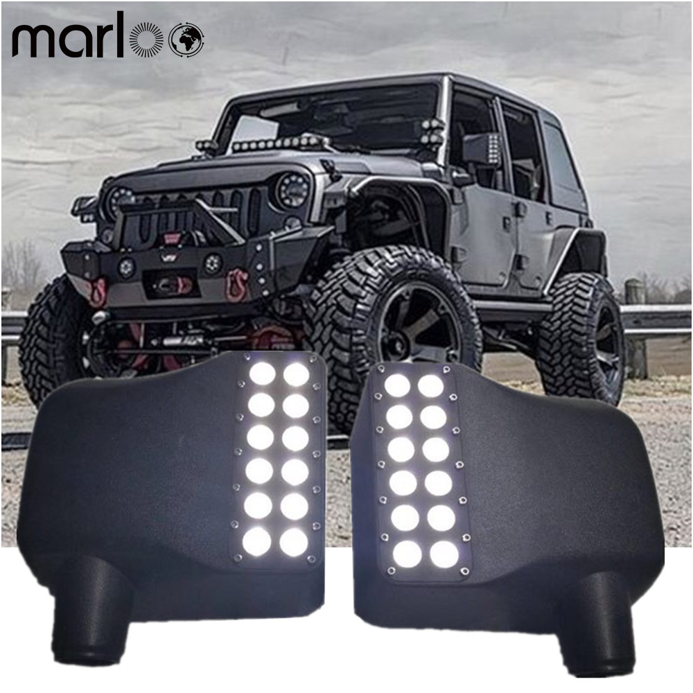 Marloo Wrangler left + Right Side Mirror Cover w/ White Spot Lights & Amber Turn Signals for Jeep Wrangler JK 2007 - 2016 windshield pillar mount grab handles for jeep wrangler jk and jku unlimited solid mount grab textured steel bar front fits jeep