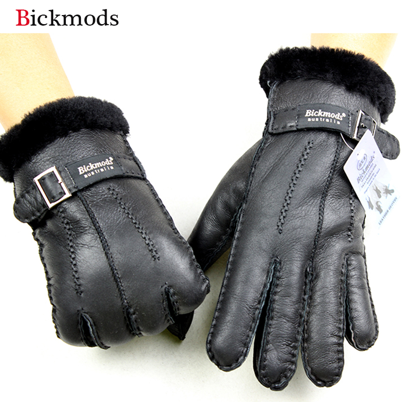 Sheepskin Fur Gloves Men Thick Winter Warm Outdoor Wind And Cold Handmade Sewing Leather Finger Gloves New Bickmods Brand