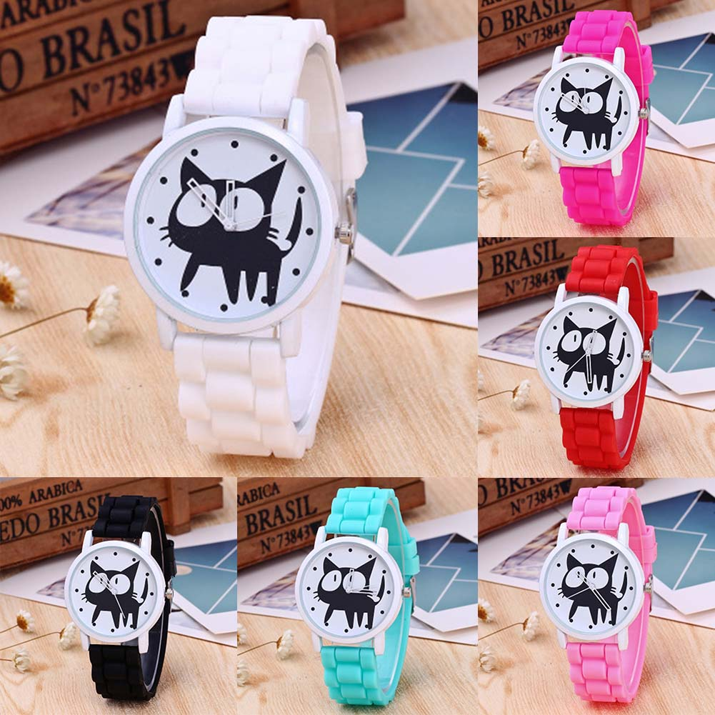 Womens Silicone Cat Watch