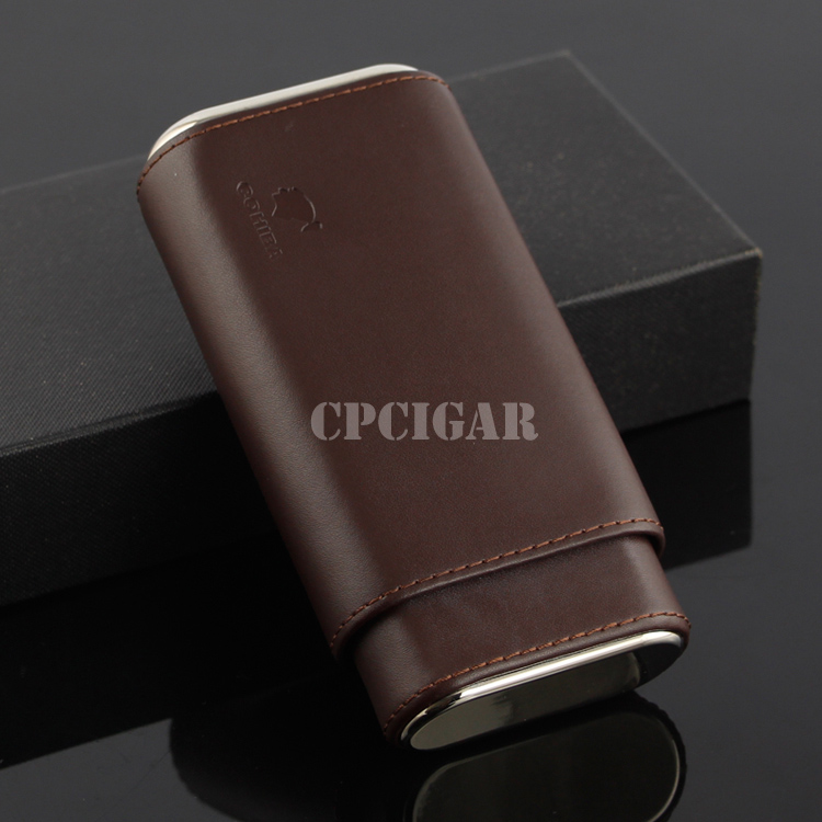 COHIBA Cigar Case Mini Humidor Holder holds 3 Cigars Brown / Black Leather Cigarette Storage Box with Steel Bottom