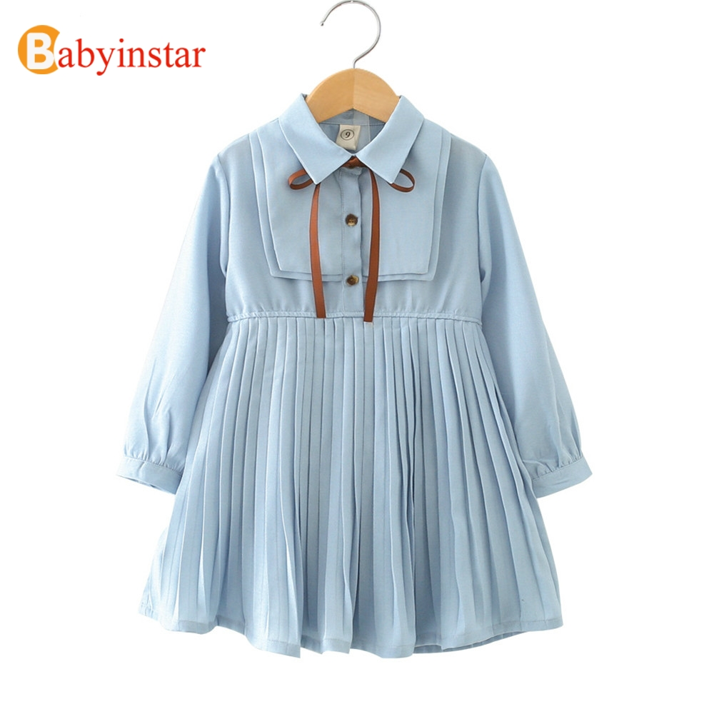 Babyinstar Baby Girl Princess Dress 2018 New Arrival Long Sleeve Pleated Design Toddler Children Clothing Kids Dresses For Girls 2018 summer new arrival girls pleated chiffon one piece dress with paillette collar children colthes for kids baby pink green