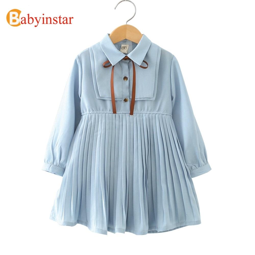 Babyinstar bebé niña princesa vestido 2018 novedad manga larga diseño plisado niño niños ropa niños vestidos para niñas