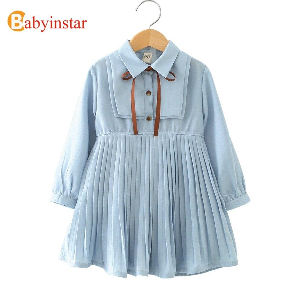 Babyinstar Baby Mädchen Prinzessin Kleid 2018 Neue Ankunft Langarm Plissee Design Kleinkind Kinder Kleidung Kinder Kleider Für Mädchen