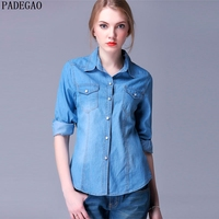 PADEGAO Light Blue Denim Blouses Turn Down Collar Long Sleeves Casual Party Shirts Autumn Women Clothing