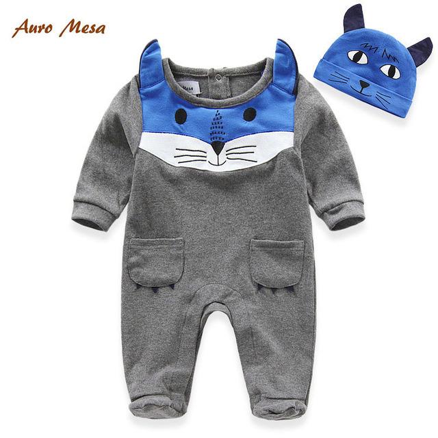 Auro Mesa moda primavera algodão gato Romper do bebê com chapéu cinza recém-nascido meninos roupas