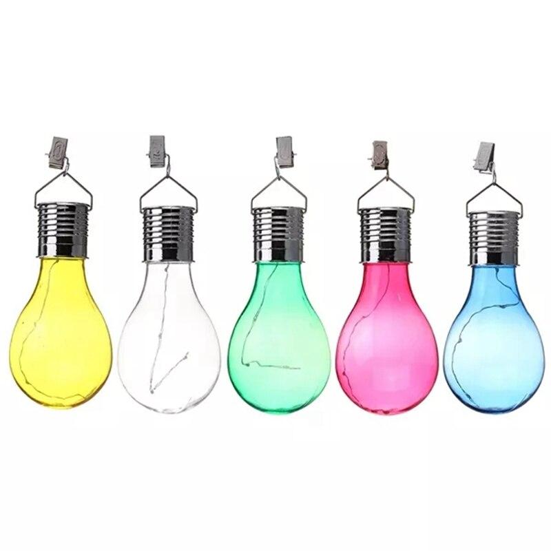 Outdoor LED Solar Light Solar Powered Camping Hanging Bulbs Spotlight Waterproof Lamp Lawn Light For Garden Yard Path Decoration