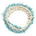 Approx.38pcs/pacote 1.3 cm * 1.3 cm Starfish Soltos Spacer Contas Azul Turquesa Branco Contas Pequena Semente DIY F1273C