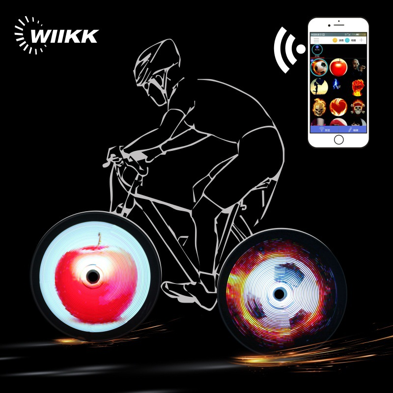 Intelligent LED Bicycle Light Projector Version Light for Bike APP Mobile Phone Wireless WIFI Transfer Programmable Spoke Lights