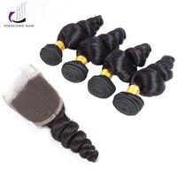 SHENLONG CABELO Humano Peruano Cabelo Solto Onda 5 Pcs Não Remy Cor Natural 4 Bundles Com Fechamento 8-26 Polegada Cor Natural cabelo