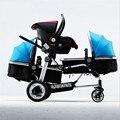 2017 30 Días de Reemplazo 3 Niños Cochecitos de Bebés Trillizos Carros Multifunción Cochecito paisaje de Alta De Aluminio de 0-3 Años de edad