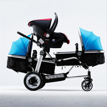 30 Days Replacement 3 Kids Strollers Babies Triplets Stroller Multifunction Trolleys High landscape 0-3 Years old Aluminum